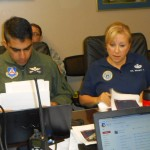 Maj. Jawad Sultan, Shelton Cadet Squadron and Col. Brooks Cima, Texas Wing, plan objectives for the joint emergency services training exercise.